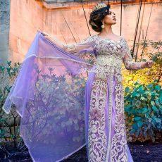 Robe parme, Negafa Caftan Shania Création créatrice