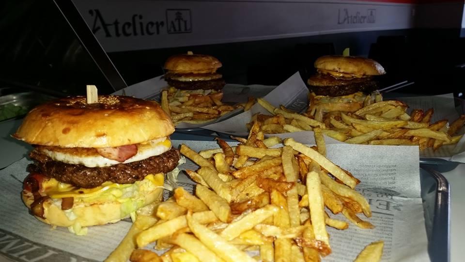 Hamburger frite, L'Atelier, bledyshop
