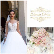 Robe et bouquet de mariée, DreamDress Location, bledyshop