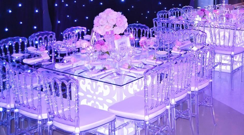 table de mariage lumineuse, Byline Decoration, bledyshop